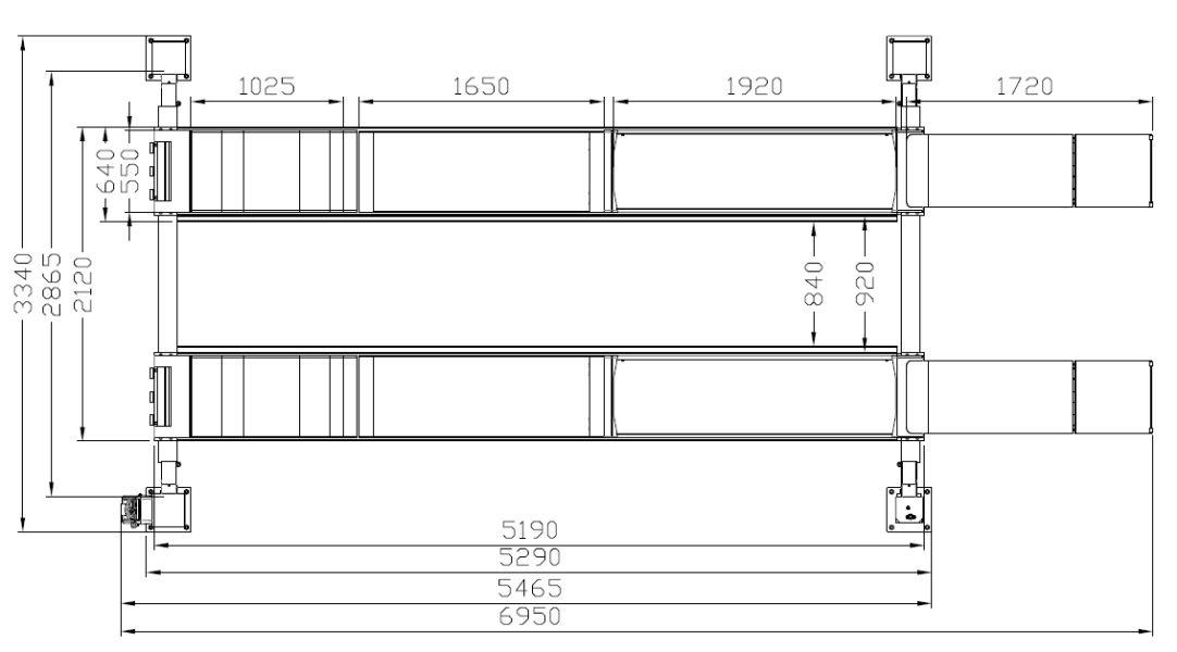 dimensiuni platforme elevator cu 4 coloane